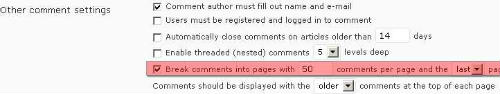 Turn off the comment pagination option.