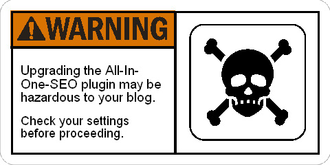 Warning: Upgrading the All In One SEO plugin may be Hazardous to your Blog!