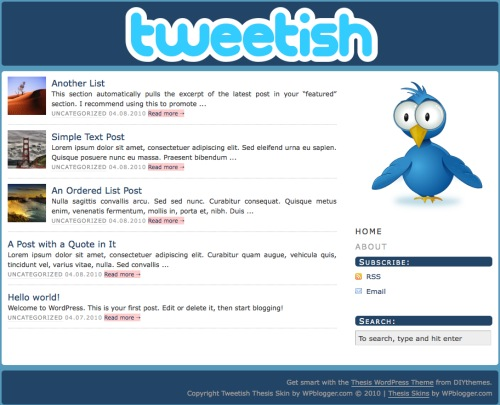 Tweetish - a free Thesis Skin by WPblogger.com