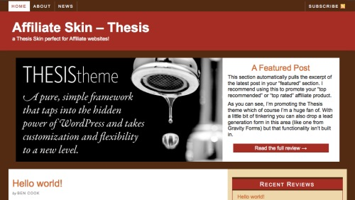Affiliate Skin for the Thesis Theme